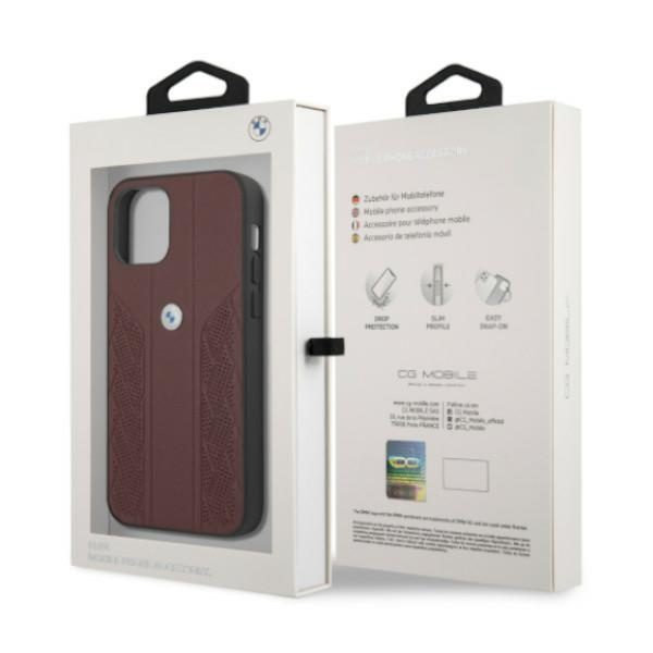 iphone 12 pro - bmw bmhcp12mrsppr apple iphone 12/12 pro red hardcase leather curve perforate - 8 - krytaren.sk